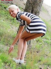 Gal in striped dress bendover upskirt upskirt pussy