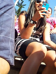 Vicious teens in the upskirt showing celebrity upskirt