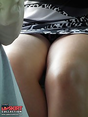 Beautiful up skirt posing on the cam upskirt picture