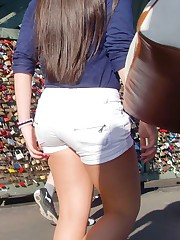 Booty shorts pics spied by hunter teen upskirt