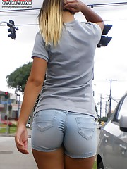Tight ass shorts girls posing here up skirt pic